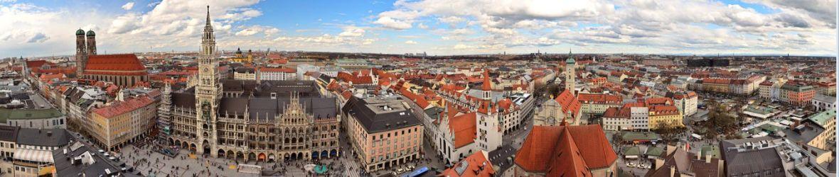 Muenchen - Blick ueber die Innenstadt mit Weitwinkelkamera